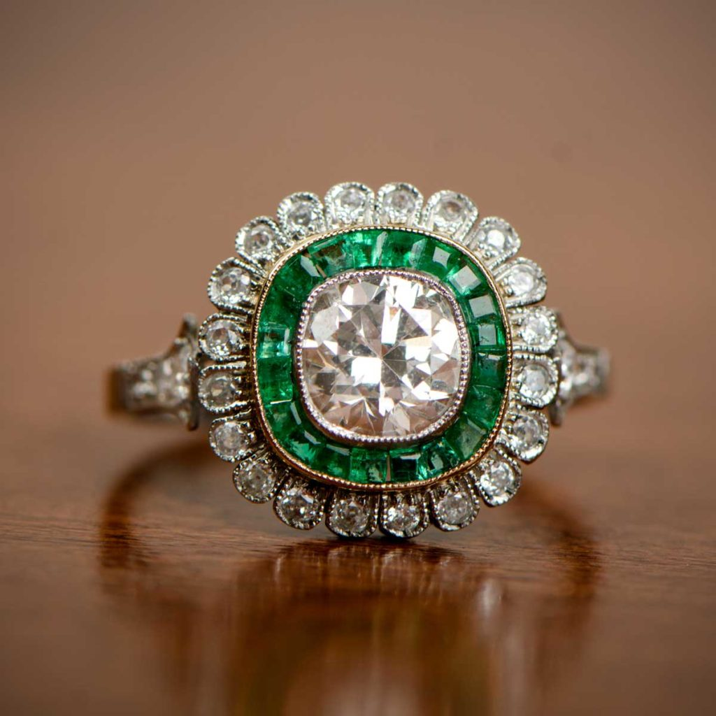 Emerald and Floral Engagement Rings