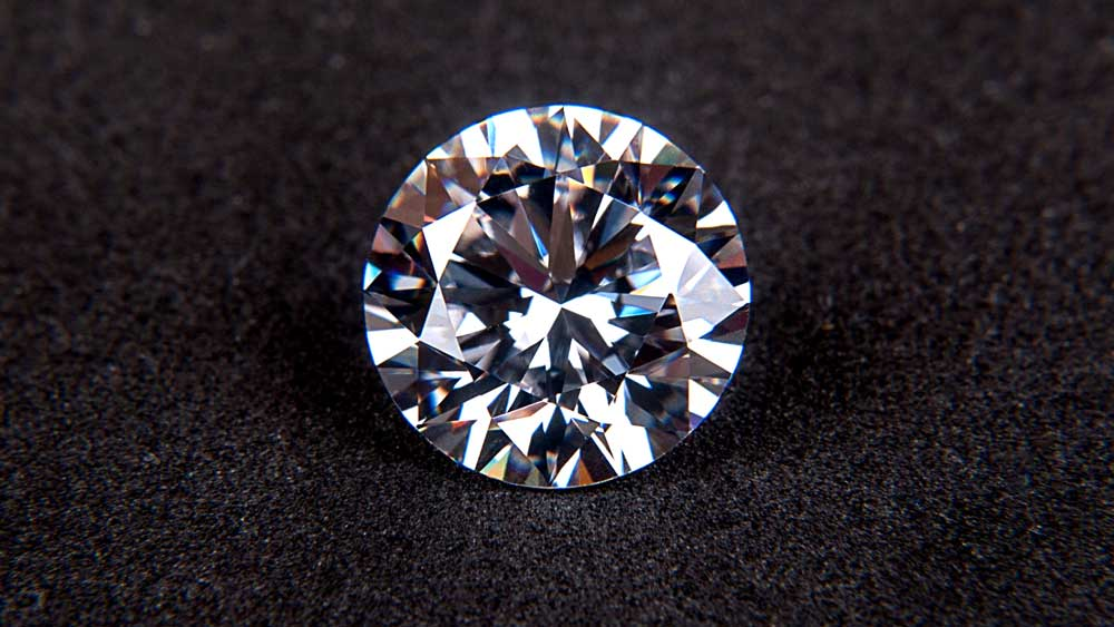 Brilliant Cut Diamond on Black Background