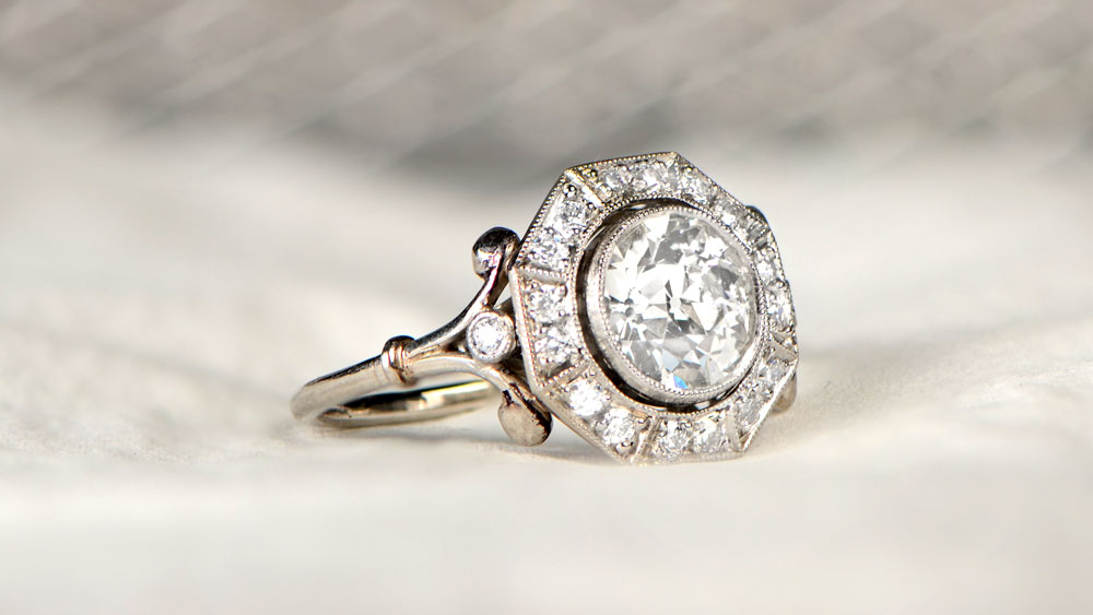 Engagement Ring with Diamond Halo
